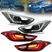 Led Headlights + Red Clear Led Taillights For Elantra 11-16 Sedan 13-14 Coupe