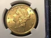 1898-s 20.00 Liberty Gold Coin Ngcunc. Details Light Cleaning Nice