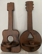 """Set Of Two2 Wooden Guitar And Banjo Shaped Candle Holder/sconces Handmade 23x11"""""""