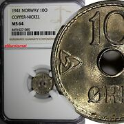 Norway Haakon Vii Copper-nickel 1941 10 Ore Ngc Ms64 Wwii Issue Km 383