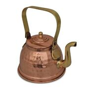 Copper Kalai Tea Kettle Amazing Hammered Pot With Brass Handle For Cooking 300ml