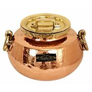 Pure Copper Kalai Chaffing Dish Hammered Design Brass Lid And Handles 15 Liters