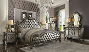 Acme Versailles Ii Queen Bed In Silver And Antique Platinum Finish 26840q