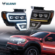 Fit For 2009-2014 Ford F150 Dual Drl Black Led Projector Headlights Front Lamps