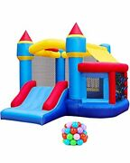 Retro Jump Inflatable Bounce House, Bounce Castle With Jumping Ball Pit And Baske