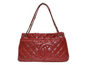 Guarantee Cloth Bag Available Chain Tote A67292 Red Caviar Skin No.2227