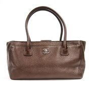 Executive Tote Bag Oblong Metallic Brown Silver Fittings No.2805