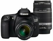 Canon Digital Slr Camera Eos 60d Double Zoom Kit Ef-s18-55mm/ Secondhand