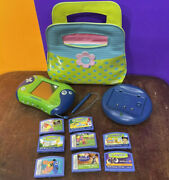 Leapfrog Leapster 2 Lot - W/ 8 Games, Bag, And Charger Dock - Nemo, Walle, Crayola