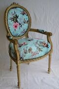 Louis Xvi Arm Chair French Style Chair Vintage Furniture Blue