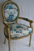 Louis Xvi Arm Chair French Style Chair Vintage Furniture Blue Flowers