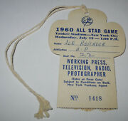 1960 Baseball All Star Game New York Yankees Press Pass Ticket Mantle Williams