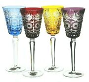 Ajka Bellagio Multi Colored Cased Cut To Clear Crystal Wine Goblets 9.25 New B