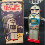 Antique Japanese Tin Toys Made By Alps Tinplate Zenmai Spaceman Television Space