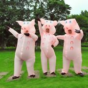 Pink Pig Inflatable Costume Halloween Cosplay Costumes Blow Up Fancy Dress Adult