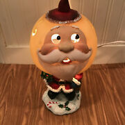 Vintage Favorite Things Hand Painted Glass Santa Claus Christmas Table Lamp New