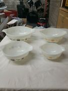 Vintage Pyrex Nesting Bowl Set, 444, 443,442, 441 Town And Country