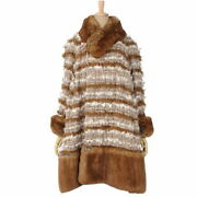 Runway Wear 10aw P39 Mixed Tweed Eco Fur Coat Outer Women And039s 48 No.7335