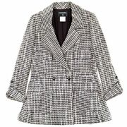 01a Tweed Coat Pocket Women And039s Gray 44 Coco Mark Button Wool No.7213