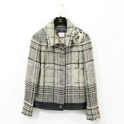 05a Tweed Jacket Women And039s 40 Hem Chain Cc Logo Button Check No.7217