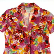 Pole Coco Button Total Pattern Short Sleeve Dress 97p Multi No.7860
