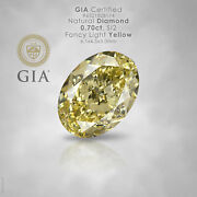 Gia Certified 0.70ct Fancy Light Yellow Natural Diamond Oval Si2 Untreated Loose