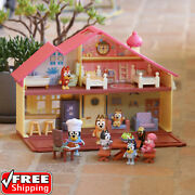 Bluey Family House Playset Pack And Go Girls Toy Gift With 4 Different Rooms