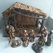 Vintage Nativity Set Manger Made In Italy 9 Piece And Stable