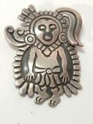 Antique Taxco Aztec / Maya Priest Vintage Mexican 970 Sterling Silver Pin - Xlnt