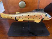 Vintage Ice Fishing Perch Decoy W/ Stand In The Style Of Oscar Peterson