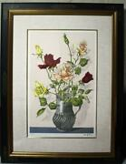 True Work Tsuguharu Fujita Roses In Vases Lithograph Sign And Mark With