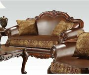Acme Dresden Loveseat With 2 Pillows In Brown And Cherry Oak Finish 15161