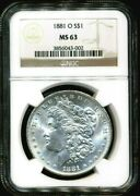 1881-o Morgan Ngc Ms-63 Bright Shiny White Silver Dollar Coin New Orleans Mint