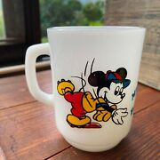 Mickey Mouse Walt Disney Baseball Fire King Mug Cup Vintage Difficult To Get