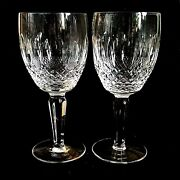 2 Two Waterford Colleen Tall Stem Cut Lead Crystal Water Goblets - Signed
