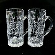 2 Two Mikasa Christmas Tree Cut Lead Crystal Beer Steins- Discontinued