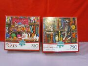 Lot Of 2 Buffalo Games Cats And Cats Of Charles Wysocki 750 Piece Jigsaw Puzzles