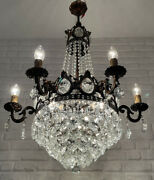 Antique Vintage Brass And Crystals 6 Arms Huge Empire Chandelier Ceiling Lamp