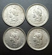1957-1960 Argentina Lot 4 Different One Peso Coins 1 Km 57 Capped Liberty Bust