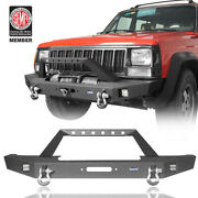 Full Width Front Bumper W/2 Led Lights And Winch Plate Fits Jeep Cherokee Xj 84-01