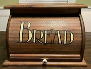 Vintage Wooden Bread Box, Roll-top With White Lettering, Farmhouse Rustic