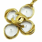 Necklace Coco Mark Crystal Gp Gold Vintage 96p Women And039s Box No.4836