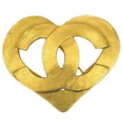 Brooch Gold Coco Mark Pin Gp 95 Vintage Heart Cc Women And039s No.5540