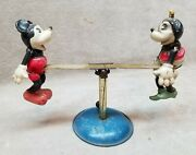 Pre War Celluloid Mickey Mouse And Minnie Mouse On See Saw Toy.