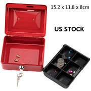 New Stainless Steel Petty Cash Box Lock Bank Deposit Safe Key Security Tray Us
