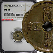 Norway Haakon Vii 1927 25 Ore Ngc Ms63 Center Hole Better Date Km 384