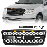 Front Grill Raptor Style Grille W/amber Lights For 04-08 Ford F150 Matte Black