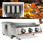 Tabletop Stainless Steel Barbecue Grill Sear 3 Burner Gas Bbq Grill Cooker Usa