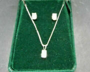 925 Sterling Silver Jewelry Necklace And Earring Set With Stones 62.32g