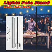 10 Pack 9ft Outdoor Patio String Light Pole String Lights Pole Stand 5prong Fork